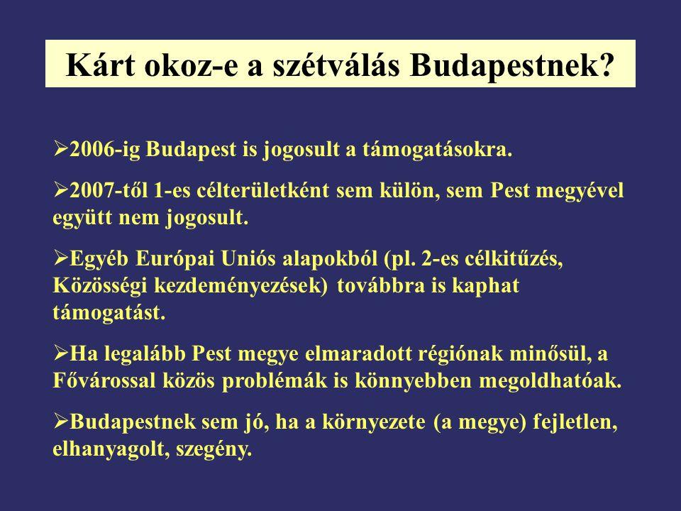 Kárt okoz-e a szétválás Budapestnek?  2006-ig Budapest is jogosult a támogatásokra.  2007-től 1-es célterületként sem külön, sem Pest megyével együt