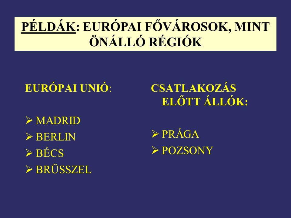 EURÓPAI UNIÓ:  MADRID  BERLIN  BÉCS  BRÜSSZEL CSATLAKOZÁS ELŐTT ÁLLÓK:  PRÁGA  POZSONY PÉLDÁK: EURÓPAI FŐVÁROSOK, MINT ÖNÁLLÓ RÉGIÓK
