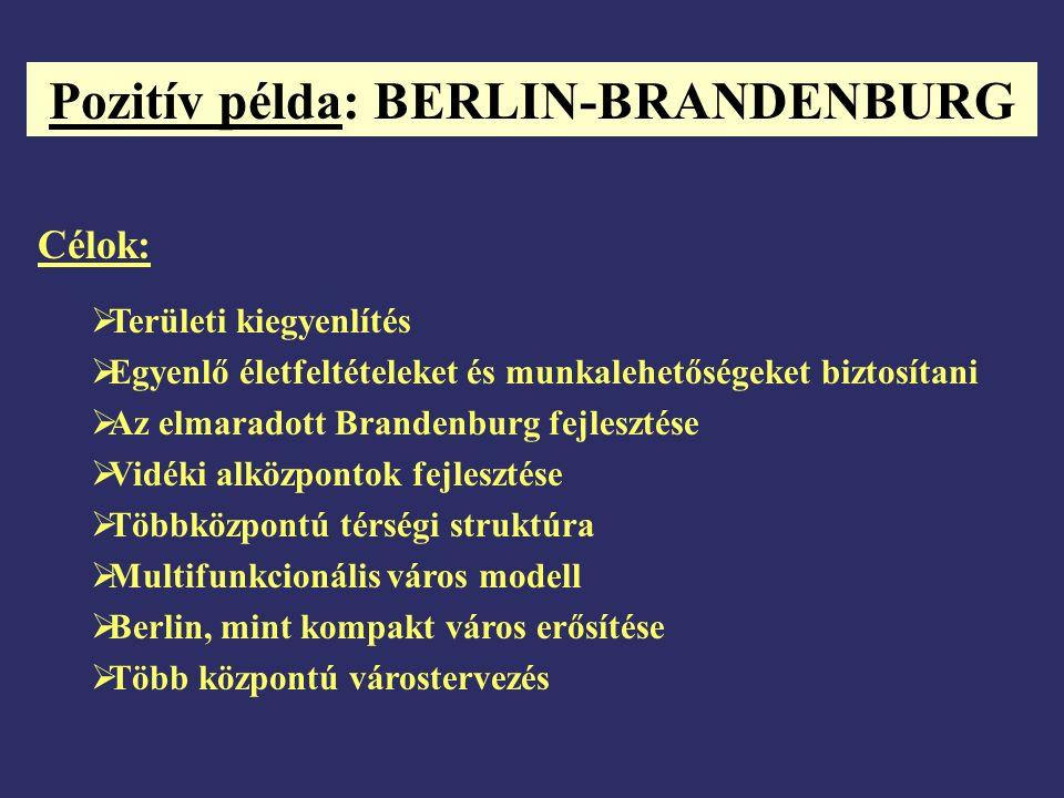 Pozitív példa: BERLIN-BRANDENBURG Célok:  Területi kiegyenlítés  Egyenlő életfeltételeket és munkalehetőségeket biztosítani  Az elmaradott Brandenburg fejlesztése  Vidéki alközpontok fejlesztése  Többközpontú térségi struktúra  Multifunkcionális város modell  Berlin, mint kompakt város erősítése  Több központú várostervezés