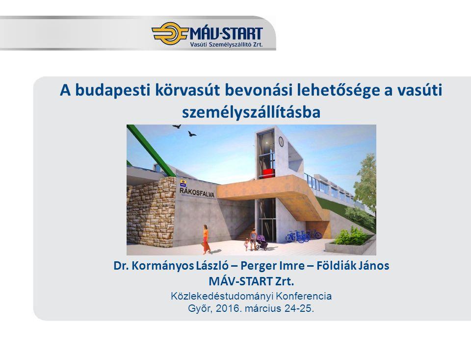 Előadó: Kozák Tamás A budapesti körvasút bevonási lehetősége a vasúti személyszállításba Dr. Kormányos László – Perger Imre – Földiák János MÁV-START