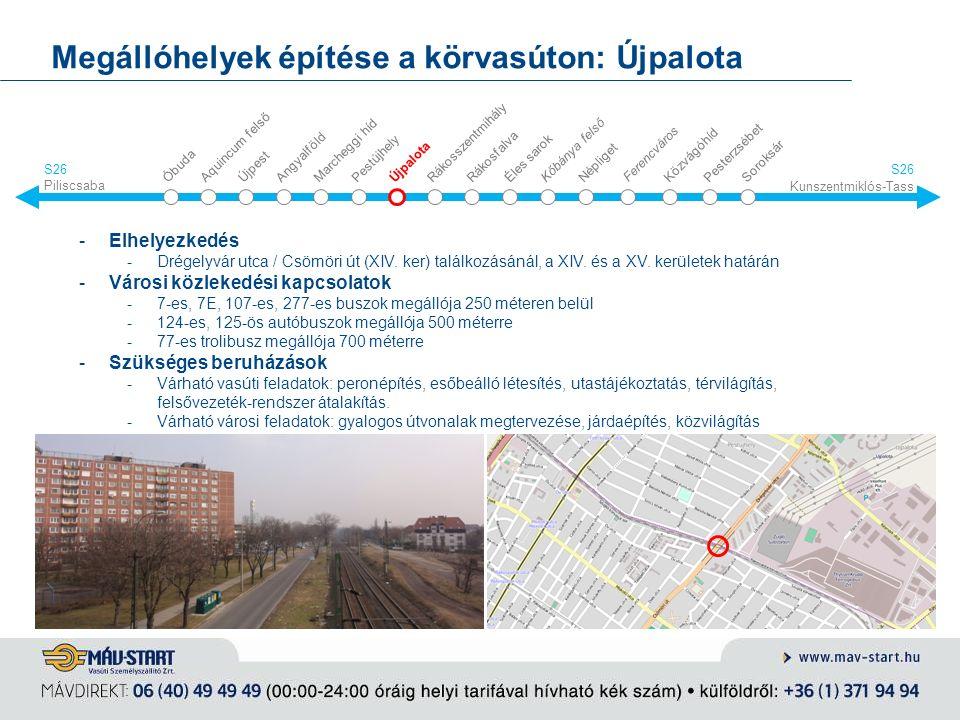 Megállóhelyek építése a körvasúton: Újpalota -Elhelyezkedés -Drégelyvár utca / Csömöri út (XIV. ker) találkozásánál, a XIV. és a XV. kerületek határán