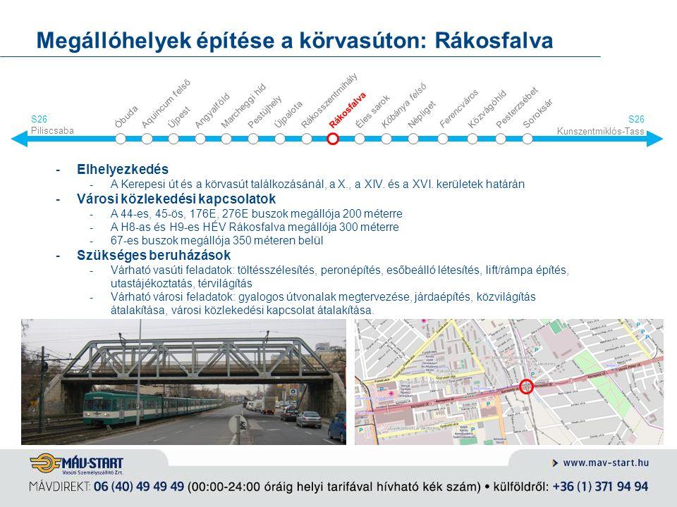 Megállóhelyek építése a körvasúton: Rákosfalva -Elhelyezkedés -A Kerepesi út és a körvasút találkozásánál, a X., a XIV. és a XVI. kerületek határán -V