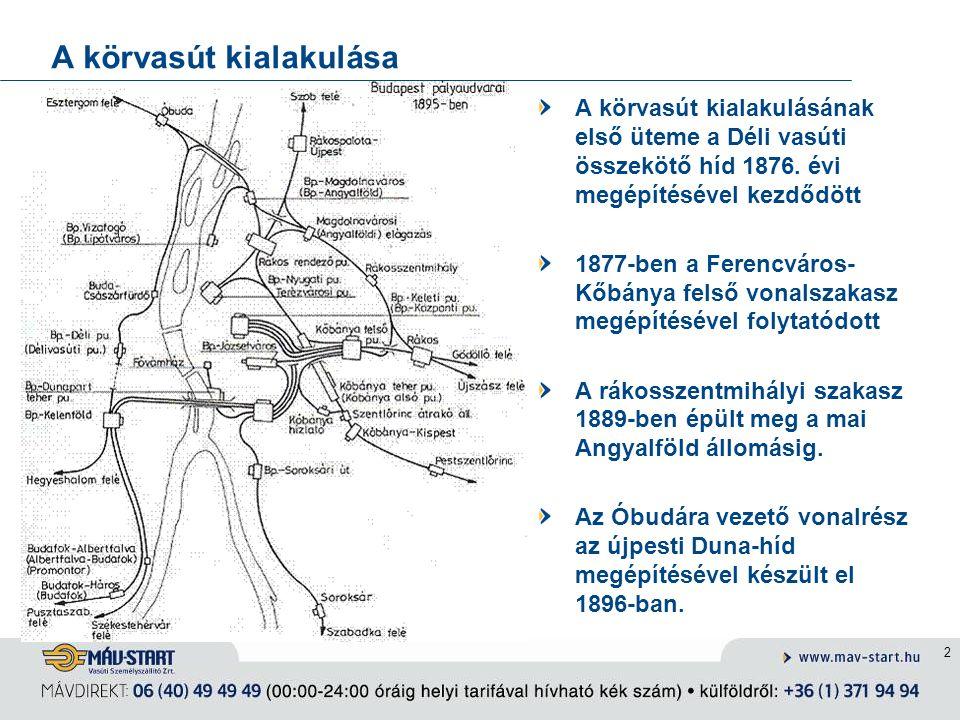 A körvasút kialakulása 2 A körvasút kialakulásának első üteme a Déli vasúti összekötő híd 1876. évi megépítésével kezdődött 1877-ben a Ferencváros- Kő