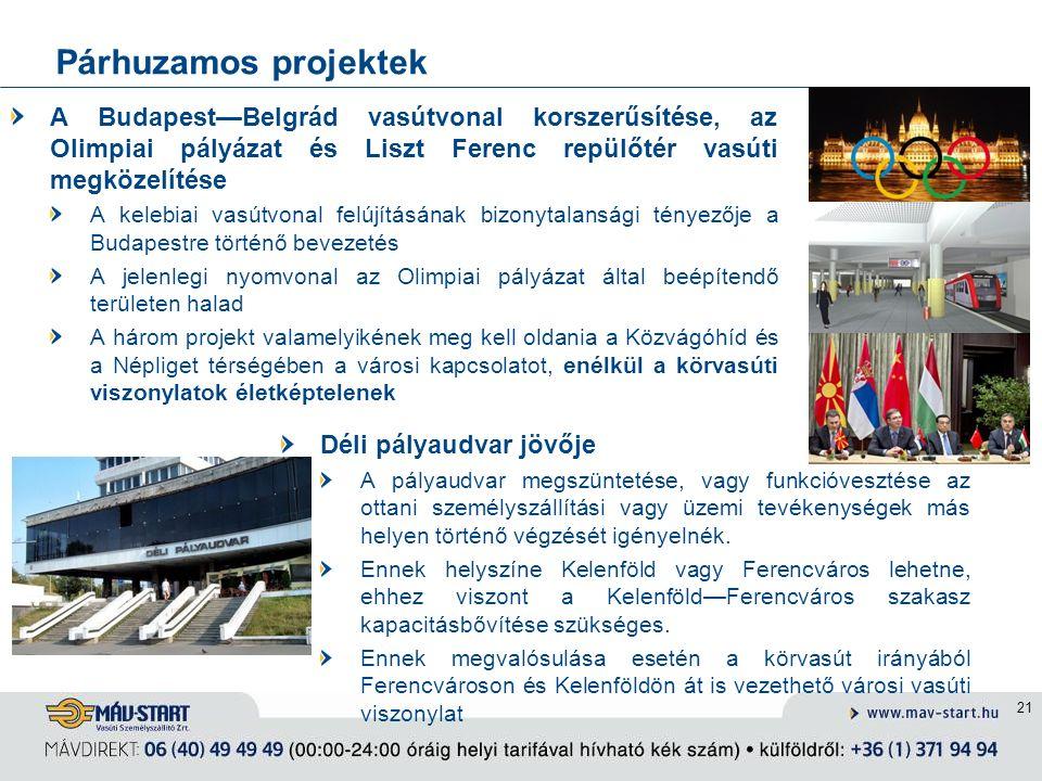 Párhuzamos projektek A Budapest—Belgrád vasútvonal korszerűsítése, az Olimpiai pályázat és Liszt Ferenc repülőtér vasúti megközelítése A kelebiai vasútvonal felújításának bizonytalansági tényezője a Budapestre történő bevezetés A jelenlegi nyomvonal az Olimpiai pályázat által beépítendő területen halad A három projekt valamelyikének meg kell oldania a Közvágóhíd és a Népliget térségében a városi kapcsolatot, enélkül a körvasúti viszonylatok életképtelenek 21 Déli pályaudvar jövője A pályaudvar megszüntetése, vagy funkcióvesztése az ottani személyszállítási vagy üzemi tevékenységek más helyen történő végzését igényelnék.