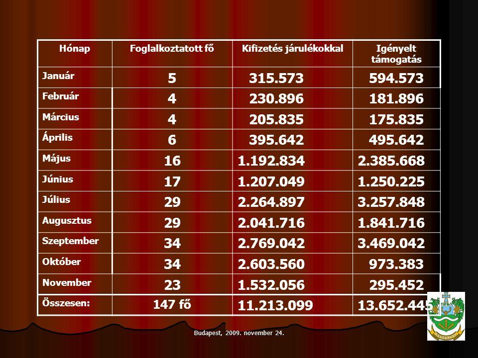 Budapest, 2009. november 24. HónapFoglalkoztatott főKifizetés járulékokkalIgényelt támogatás Január 5 315.573 594.573 Február 4 230.896 181.896 Márciu