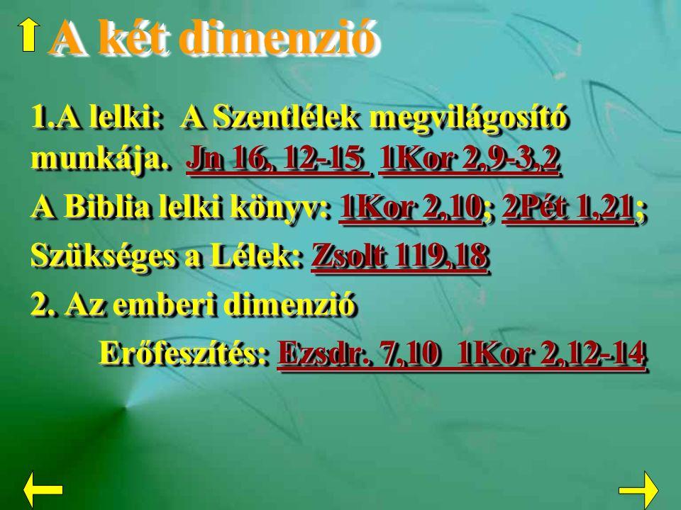 A két dimenzió 1.A lelki: A Szentlélek megvilágosító munkája. Jn 16, 12-15 1Kor 2,9-3,2 Jn 16, 12-15 1Kor 2,9-3,2Jn 16, 12-15 1Kor 2,9-3,2 A Biblia le