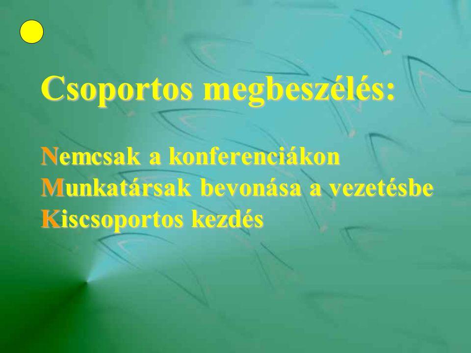 Csoportos megbeszélés: Nemcsak a konferenciákon Munkatársak bevonása a vezetésbe Kiscsoportos kezdés