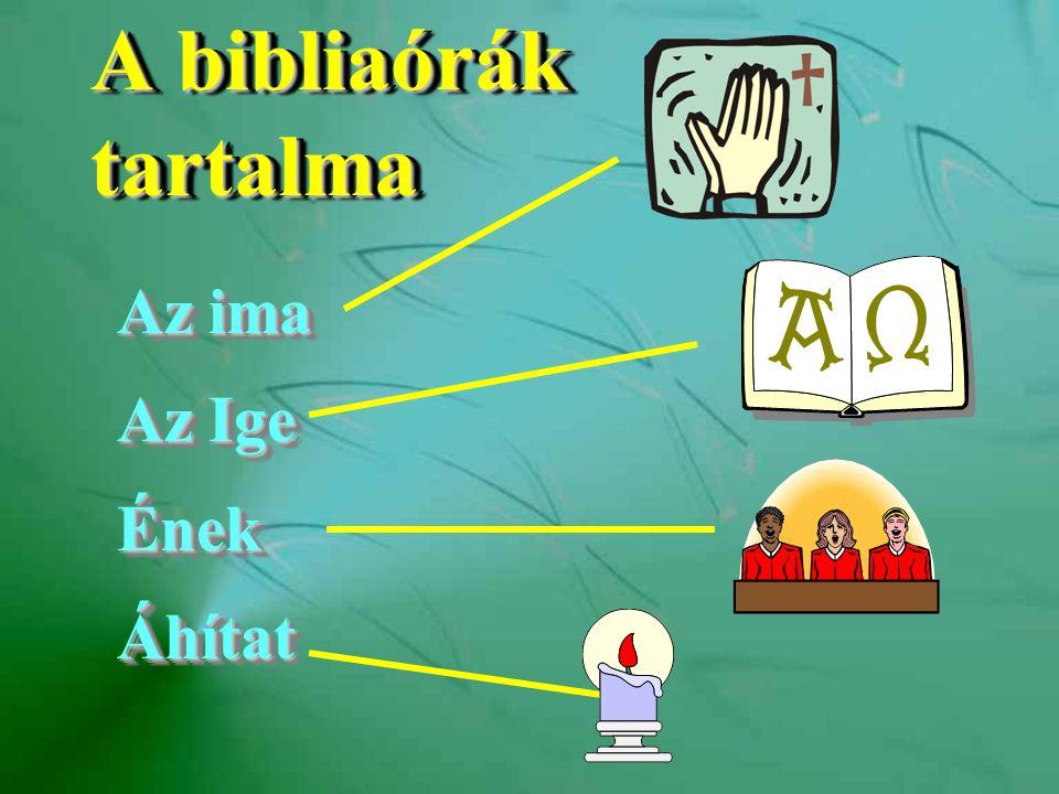 A bibliaórák tartalma Az ima Az Ige ÉnekÁhítat Az ima Az Ige ÉnekÁhítat