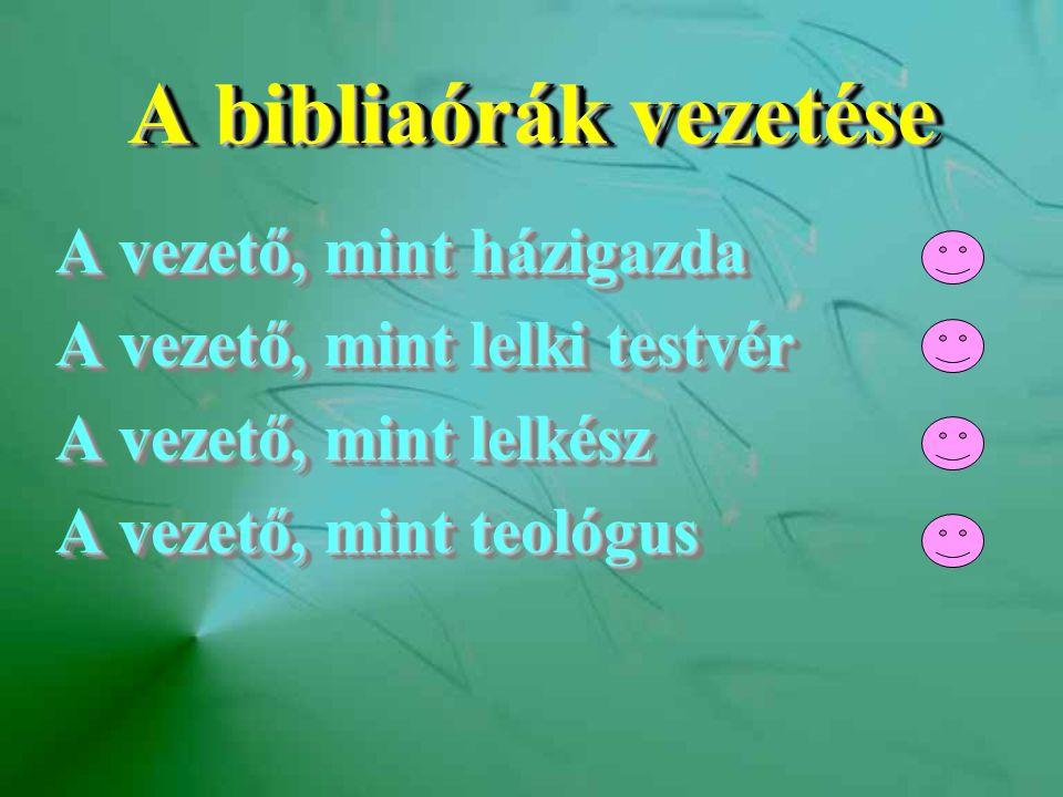 A bibliaórák vezetése A vezető, mint házigazda A vezető, mint lelki testvér A vezető, mint lelkész A vezető, mint teológus A vezető, mint házigazda A