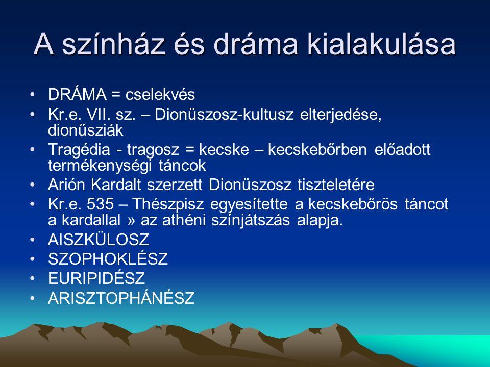 A színház és dráma kialakulása DRÁMA = cselekvés Kr.e.