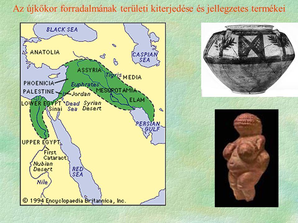 Az újkőkor forradalmának területi kiterjedése és jellegzetes termékei