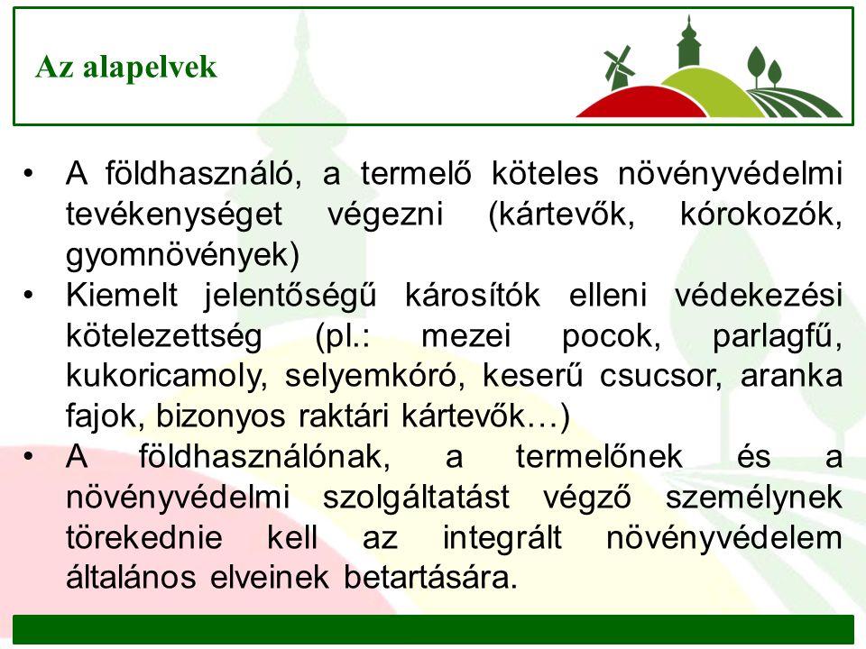 Az alapelvek A földhasználó, a termelő köteles növényvédelmi tevékenységet végezni (kártevők, kórokozók, gyomnövények) Kiemelt jelentőségű károsítók elleni védekezési kötelezettség (pl.: mezei pocok, parlagfű, kukoricamoly, selyemkóró, keserű csucsor, aranka fajok, bizonyos raktári kártevők…) A földhasználónak, a termelőnek és a növényvédelmi szolgáltatást végző személynek törekednie kell az integrált növényvédelem általános elveinek betartására.