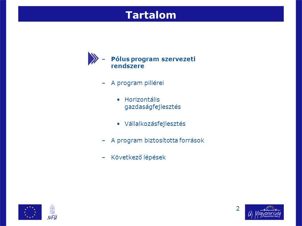 2 –Pólus program szervezeti rendszere –A program pillérei Horizontális gazdaságfejlesztés Vállalkozásfejlesztés –A program biztosította források –Következő lépések Tartalom