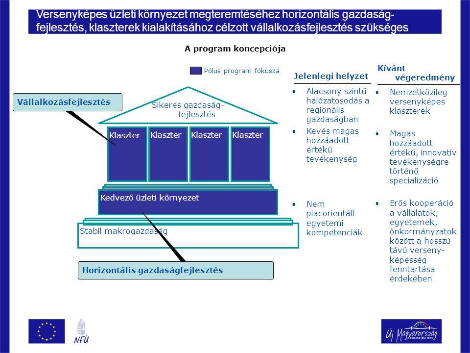 18 Cél Módszer Potenciális pályázók Áttekintés ▪Az akkreditáció célja, hogy a Magyarországon működő klaszterekből kiválassza és minősítse azokat, amelyek komoly nemzetközi és hazai teljesítményt értek el, és potenciálisan további komoly lehetőségeik vannak, illetve kiszűrje mindazokat, akik járadékvadász magatartást követve csak a támogatási források miatt állnak össze ▪Előre meghatározott, szigorú, tényalapú szempontrendszer, különös hangsúlyt helyezve a gazdasági és innovációs teljesítményre, közös és egyéni szinten is ▪Azok a fejlettnek számító, innovatív, magas hozzáadott értékű, komoly exporttevékenységet folytató együttműködések, melyek elsősorban KKV-kból, ezen túlmenően felsőoktatási és kutató intézményekből, kiegészítőleg nagyvállalatokból, önkormányzati támogatással, esetleg részvétellel működnek A sikeres akkreditáció révén a jelentős fejlesztési forrásoknak köszönhetően a pólus innovációs klaszterek komoly szerepet játszhatnak a magyar gazdaság fenntartható fejlődési szintjének elérésében Az akkreditáció egy rigorózus szakmai értékelő rendszer, amelynek célja a program alappilléreit jelentő kezdeményezések kiválasztása Az akkreditáció általános bemutatása