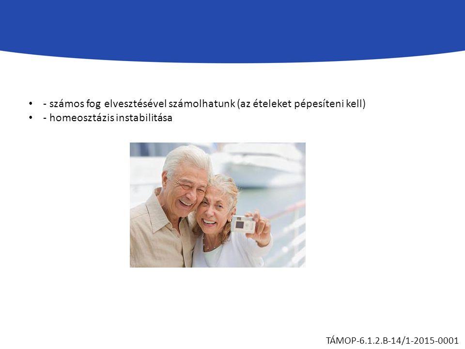 - számos fog elvesztésével számolhatunk (az ételeket pépesíteni kell) - homeosztázis instabilitása TÁMOP-6.1.2.B-14/1-2015-0001