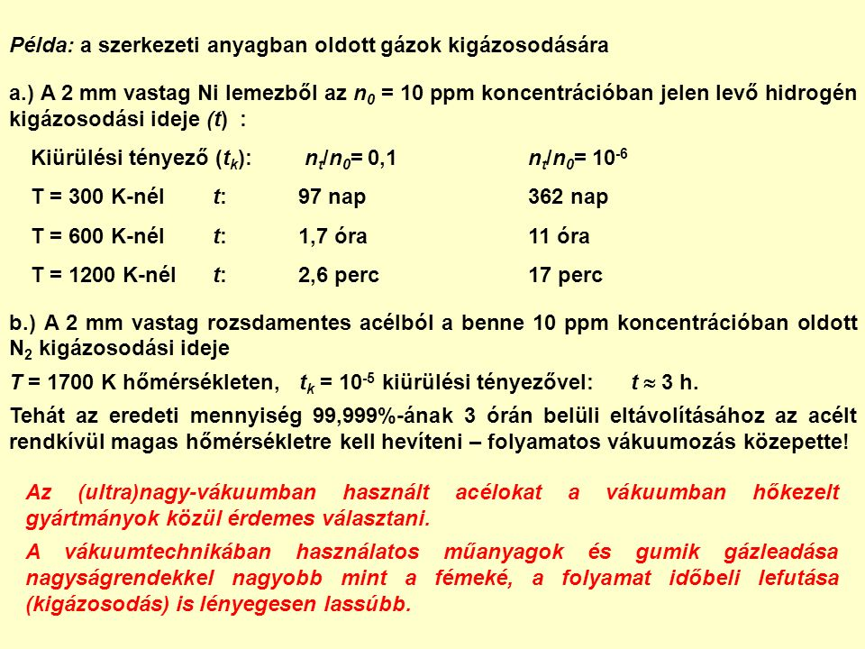 Példa: a szerkezeti anyagban oldott gázok kigázosodására a.) A 2 mm vastag Ni lemezből az n 0 = 10 ppm koncentrációban jelen levő hidrogén kigázosodási ideje (t) : Kiürülési tényező (t k ): n t /n 0 = 0,1n t /n 0 = 10 -6 T = 300 K-nél t:97 nap362 nap T = 600 K-nél t:1,7 óra11 óra T = 1200 K-nél t:2,6 perc17 perc b.) A 2 mm vastag rozsdamentes acélból a benne 10 ppm koncentrációban oldott N 2 kigázosodási ideje T = 1700 K hőmérsékleten, t k = 10 -5 kiürülési tényezővel: t  3 h.