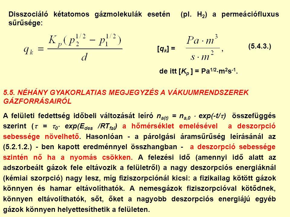 Disszociáló kétatomos gázmolekulák esetén (pl. H 2 ) a permeációfluxus sűrűsége: [q k ] =, 5.5. NÉHÁNY GYAKORLATIAS MEGJEGYZÉS A VÁKUUMRENDSZEREK GÁZF