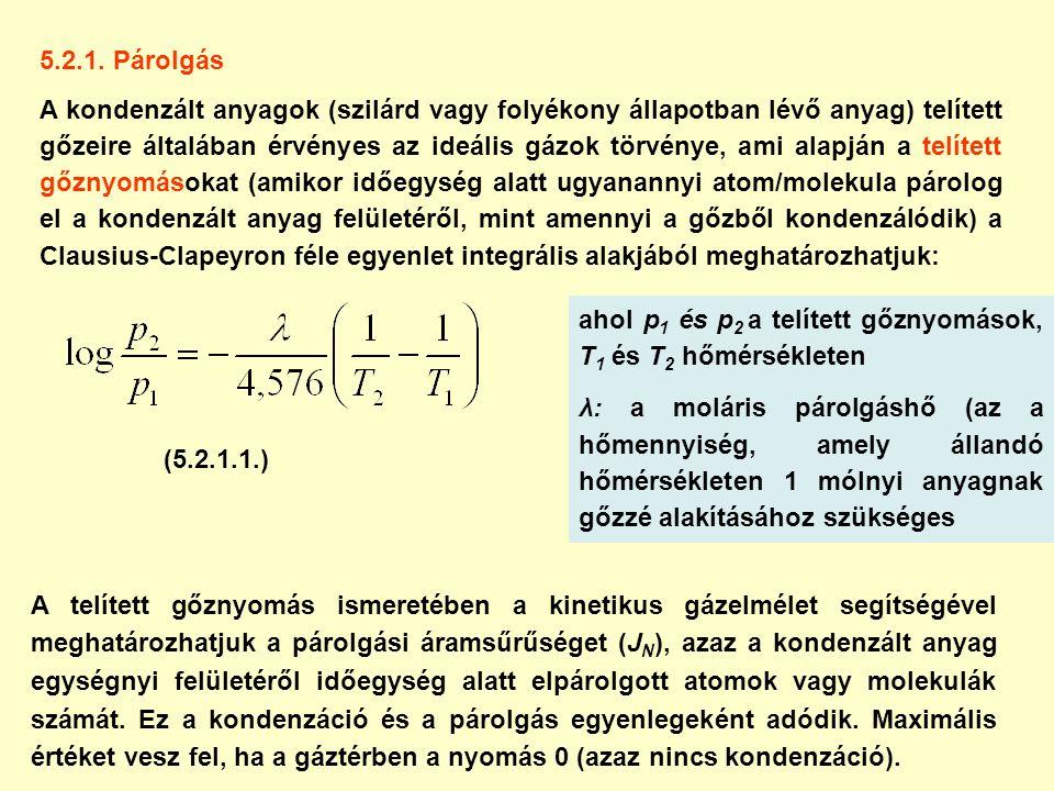 5.2.1. Párolgás A kondenzált anyagok (szilárd vagy folyékony állapotban lévő anyag) telített gőzeire általában érvényes az ideális gázok törvénye, ami