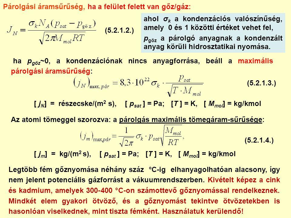 ahol σ k a kondenzációs valószínűség, amely 0 és 1 közötti értéket vehet fel, p gőz a párolgó anyagnak a kondenzált anyag körüli hidrosztatikai nyomása.