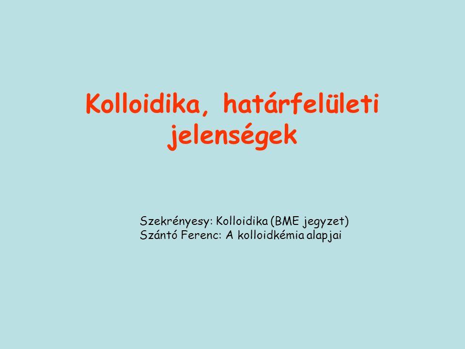 Kolloidika, határfelületi jelenségek Szekrényesy: Kolloidika (BME jegyzet) Szántó Ferenc: A kolloidkémia alapjai