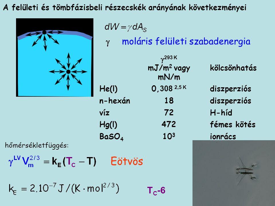 A felületi és tömbfázisbeli részecskék arányának következményei  293 K mJ/m 2 vagy mN/m kölcsönhatás He(l)0, 308 2,5 K diszperziós n-hexán18 diszperziós víz72 H-híd Hg(l)472 fémes kötés BaSO 4 10 3 ionrács moláris felületi szabadenergia Eötvös T C -6 hőmérsékletfüggés: