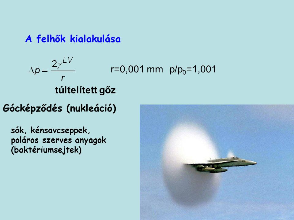 Gócképződés (nukleáció) A felhők kialakulása r=0,001 mmp/p 0 =1,001 túltelített gőz sók, kénsavcseppek, poláros szerves anyagok (baktériumsejtek)
