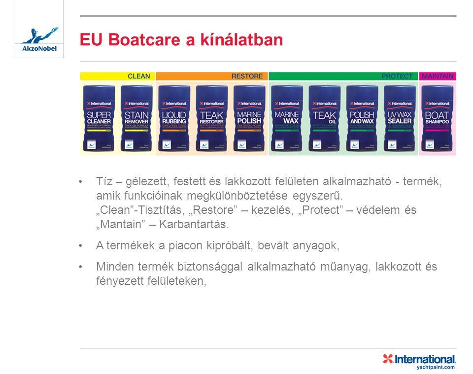 EU Boatcare a kínálatban Tíz – gélezett, festett és lakkozott felületen alkalmazható - termék, amik funkcióinak megkülönböztetése egyszerű.