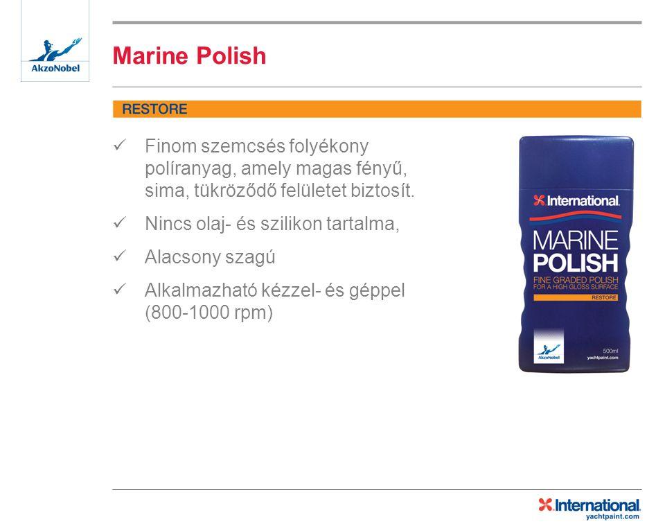 Marine Polish Finom szemcsés folyékony políranyag, amely magas fényű, sima, tükröződő felületet biztosít.