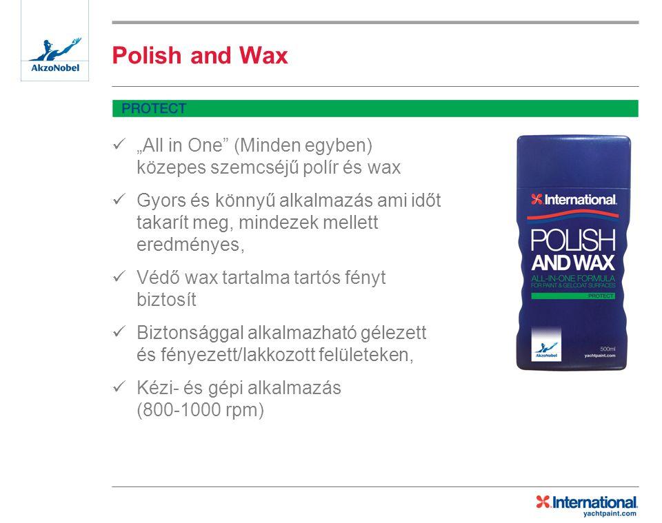 """Polish and Wax """"All in One (Minden egyben) közepes szemcséjű polír és wax Gyors és könnyű alkalmazás ami időt takarít meg, mindezek mellett eredményes, Védő wax tartalma tartós fényt biztosít Biztonsággal alkalmazható gélezett és fényezett/lakkozott felületeken, Kézi- és gépi alkalmazás (800-1000 rpm)"""