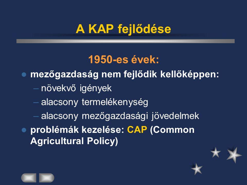 A KAP fejlődése 1950-es évek: mezőgazdaság nem fejlődik kellőképpen: –növekvő igények –alacsony termelékenység –alacsony mezőgazdasági jövedelmek problémák kezelése: CAP (Common Agricultural Policy)