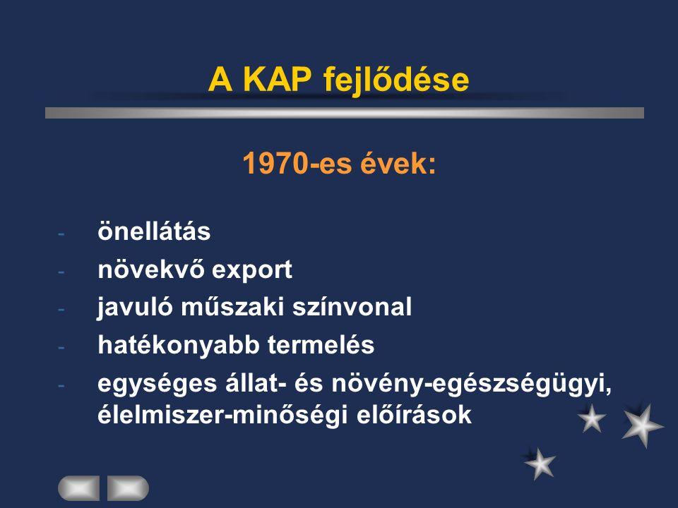 A KAP fejlődése 1970-es évek: - önellátás - növekvő export - javuló műszaki színvonal - hatékonyabb termelés - egységes állat- és növény-egészségügyi, élelmiszer-minőségi előírások