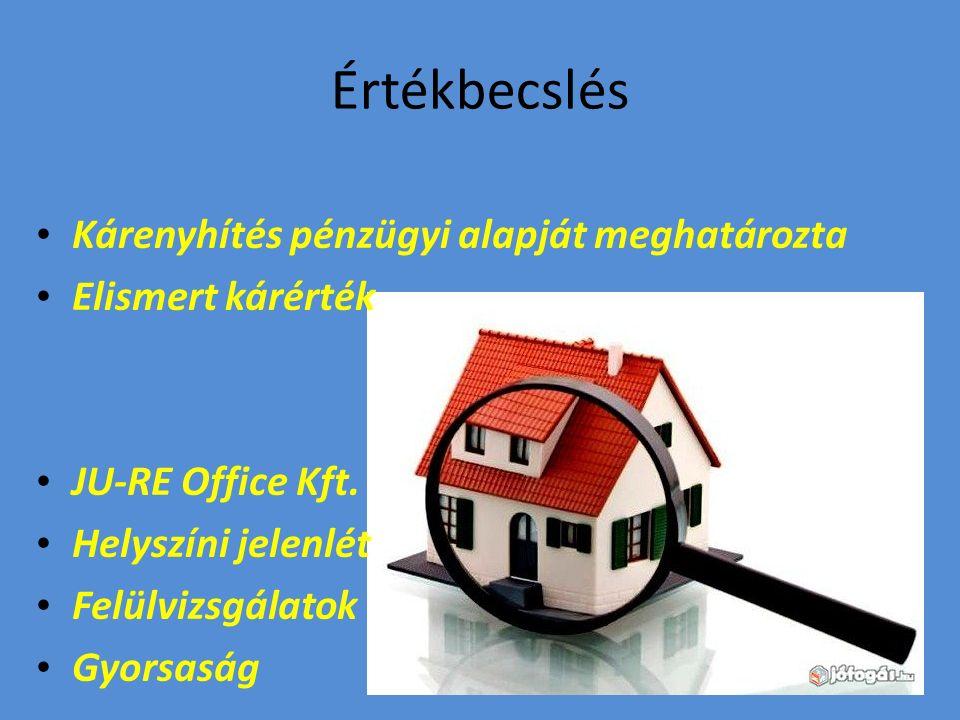 Értékbecslés Kárenyhítés pénzügyi alapját meghatározta Elismert kárérték JU-RE Office Kft.