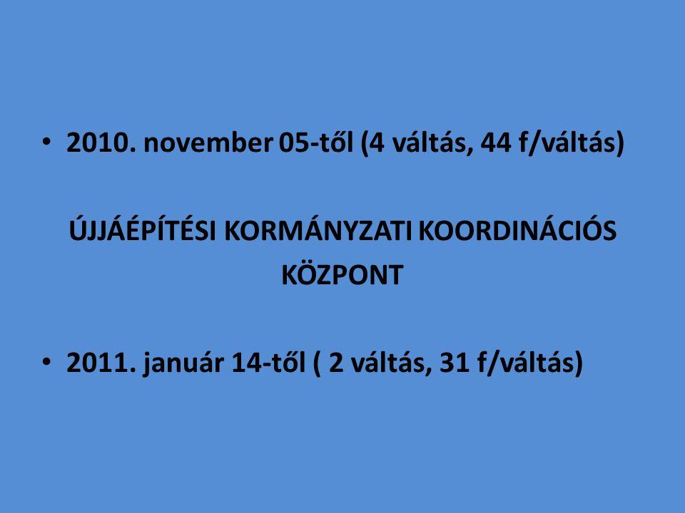 2010. november 05-től (4 váltás, 44 f/váltás) ÚJJÁÉPÍTÉSI KORMÁNYZATI KOORDINÁCIÓS KÖZPONT 2011.