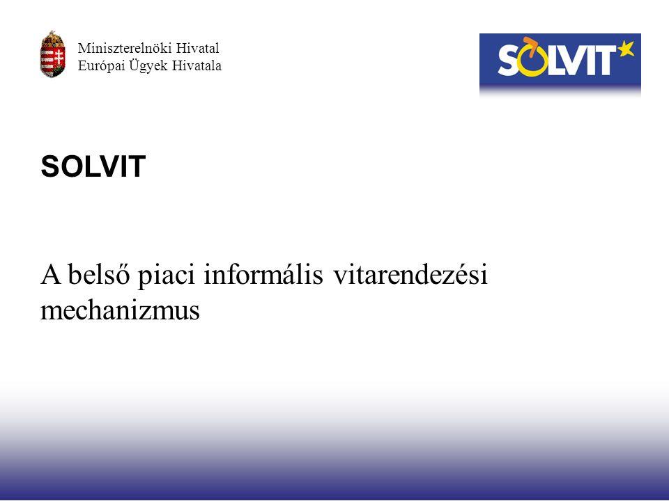 SOLVIT A belső piaci informális vitarendezési mechanizmus Miniszterelnöki Hivatal Európai Ügyek Hivatala