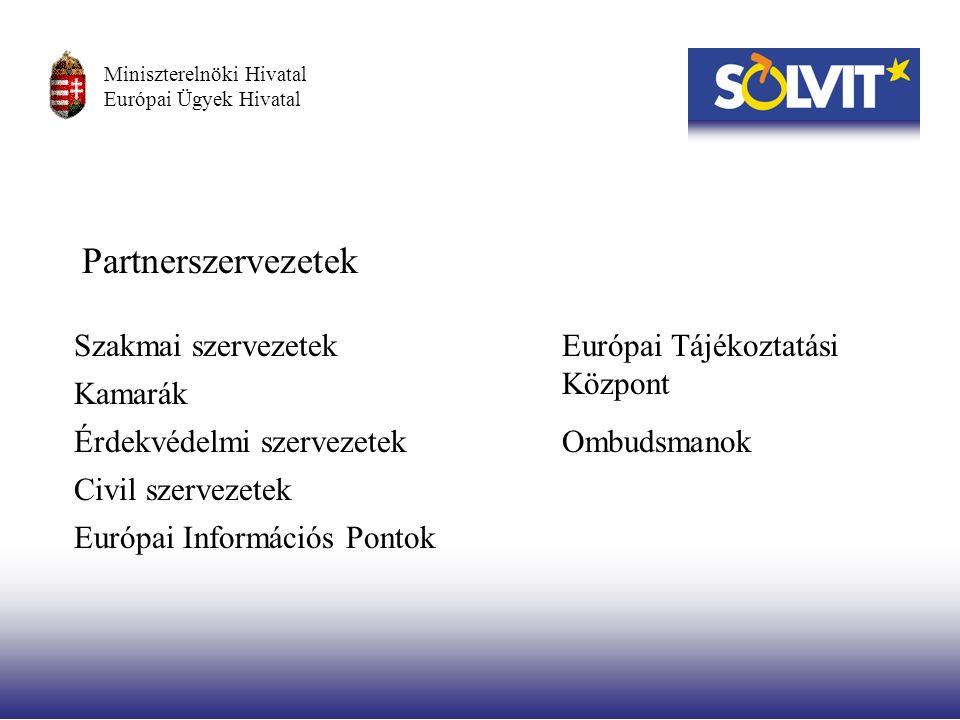 Partnerszervezetek Szakmai szervezetek Kamarák Érdekvédelmi szervezetek Civil szervezetek Európai Információs Pontok Európai Tájékoztatási Központ Ombudsmanok Miniszterelnöki Hivatal Európai Ügyek Hivatal