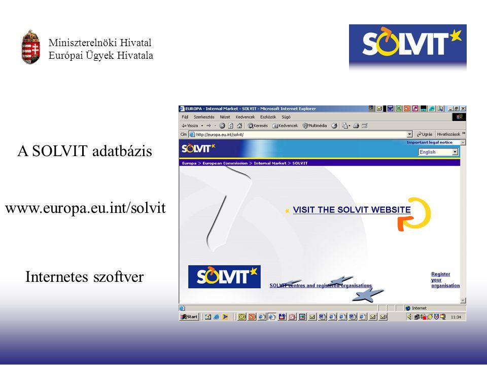 A SOLVIT adatbázis Internetes szoftver www.europa.eu.int/solvit Miniszterelnöki Hivatal Európai Ügyek Hivatala