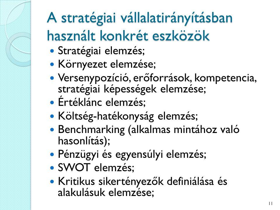 A stratégiai vállalatirányításban használt konkrét eszközök Stratégiai elemzés; Környezet elemzése; Versenypozíció, erőforrások, kompetencia, stratégiai képességek elemzése; Értéklánc elemzés; Költség-hatékonyság elemzés; Benchmarking (alkalmas mintához való hasonlítás); Pénzügyi és egyensúlyi elemzés; SWOT elemzés; Kritikus sikertényezők definiálása és alakulásuk elemzése; 11