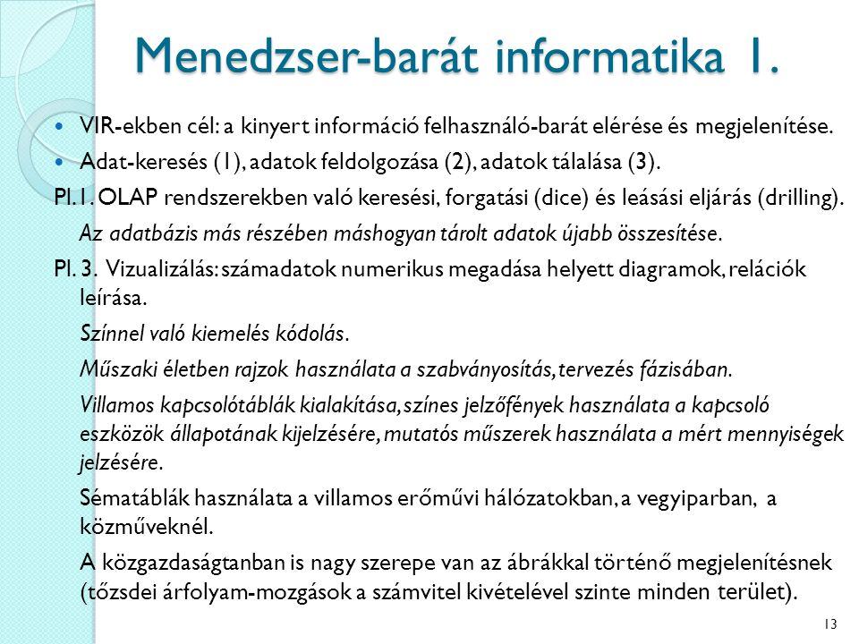 Menedzser-barát informatika 1. VIR-ekben cél: a kinyert információ felhasználó-barát elérése és megjelenítése. Adat-keresés (1), adatok feldolgozása (