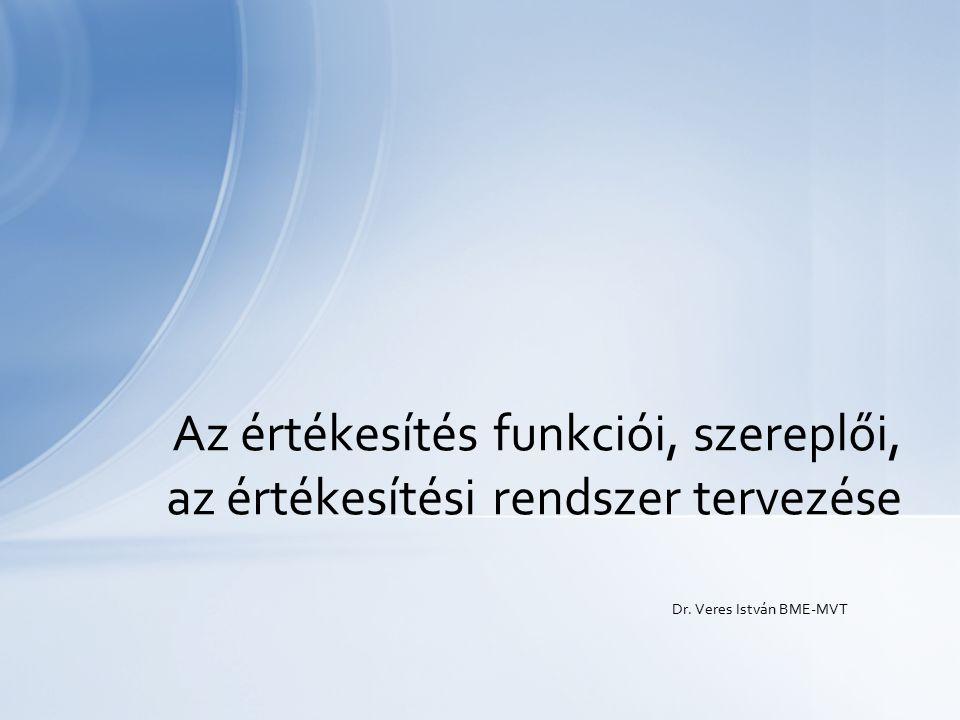 Dr. Veres István BME-MVT Az értékesítés funkciói, szereplői, az értékesítési rendszer tervezése