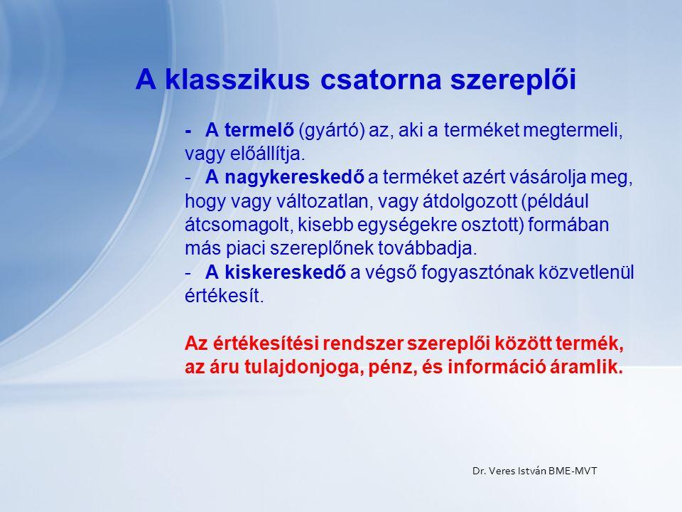 Dr. Veres István BME-MVT A klasszikus csatorna szereplői - A termelő (gyártó) az, aki a terméket megtermeli, vagy előállítja. -A nagykereskedő a termé