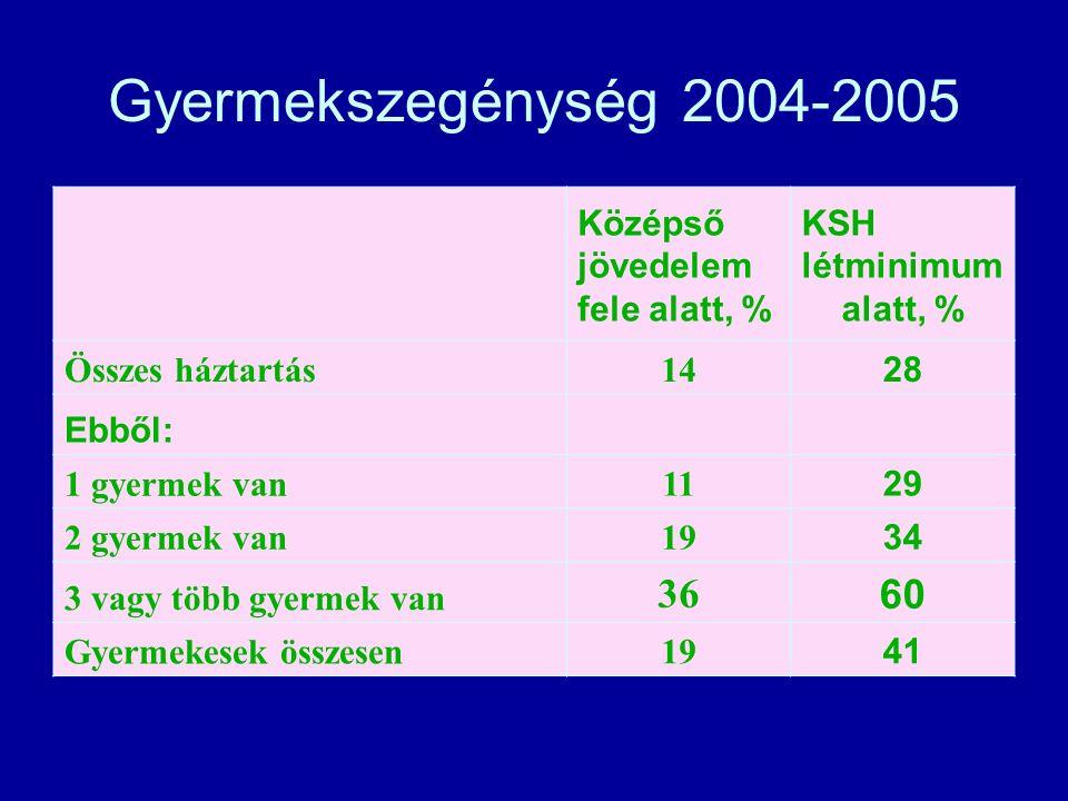 Gyermekszegénység 2004-2005 Középső jövedelem fele alatt, % KSH létminimum alatt, % Összes háztartás 14 28 Ebből: 1 gyermek van 11 29 2 gyermek van 19 34 3 vagy több gyermek van 36 60 Gyermekesek összesen 19 41