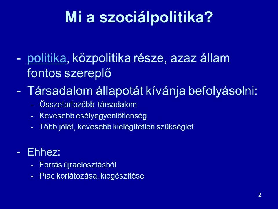 2 Mi a szociálpolitika? -politika, közpolitika része, azaz állam fontos szereplőpolitika -Társadalom állapotát kívánja befolyásolni: -Összetartozóbb t