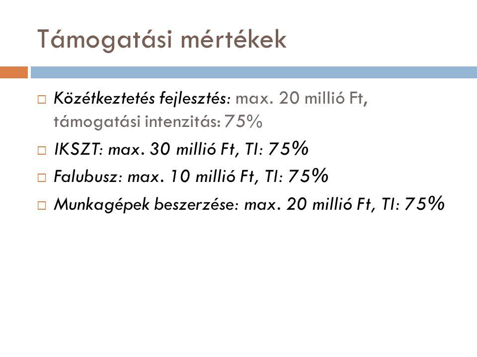 Támogatási mértékek  Közétkeztetés fejlesztés: max.