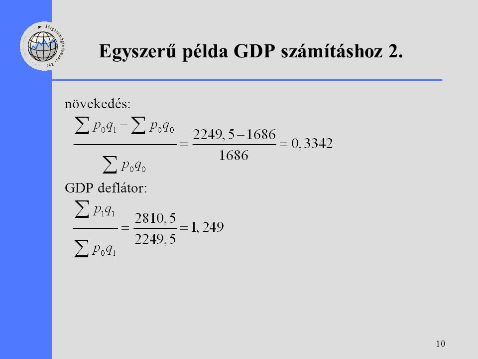 10 Egyszerű példa GDP számításhoz 2. növekedés: GDP deflátor: