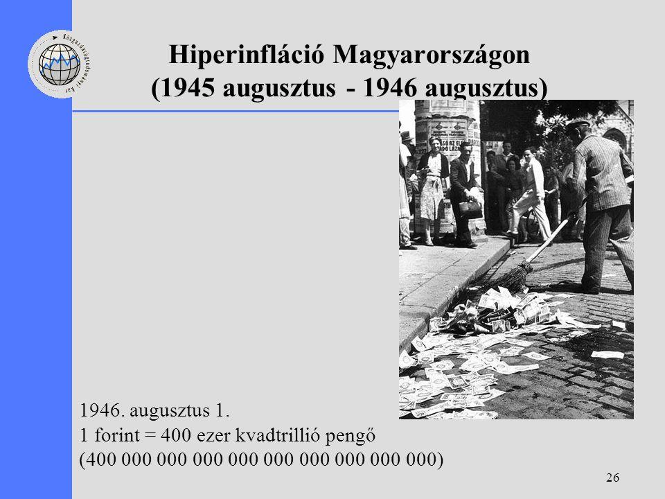 26 Hiperinfláció Magyarországon (1945 augusztus - 1946 augusztus) 1946. augusztus 1. 1 forint = 400 ezer kvadtrillió pengő (400 000 000 000 000 000 00
