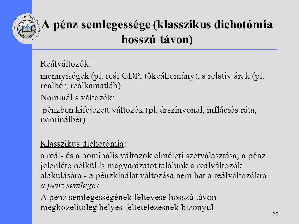 27 A pénz semlegessége (klasszikus dichotómia hosszú távon) Reálváltozók: mennyiségek (pl. reál GDP, tőkeállomány), a relatív árak (pl. reálbér, reálk