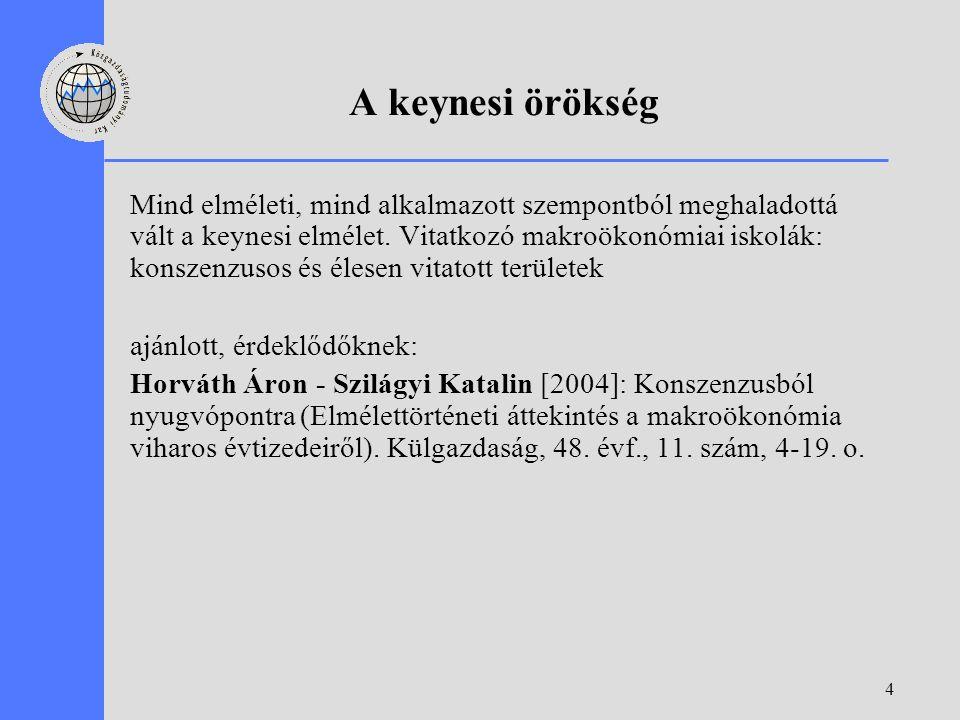 4 A keynesi örökség Mind elméleti, mind alkalmazott szempontból meghaladottá vált a keynesi elmélet. Vitatkozó makroökonómiai iskolák: konszenzusos és