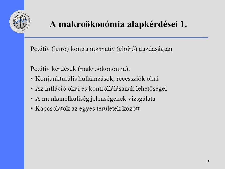 5 A makroökonómia alapkérdései 1. Pozitív (leíró) kontra normatív (előíró) gazdaságtan Pozitív kérdések (makroökonómia): Konjunkturális hullámzások, r
