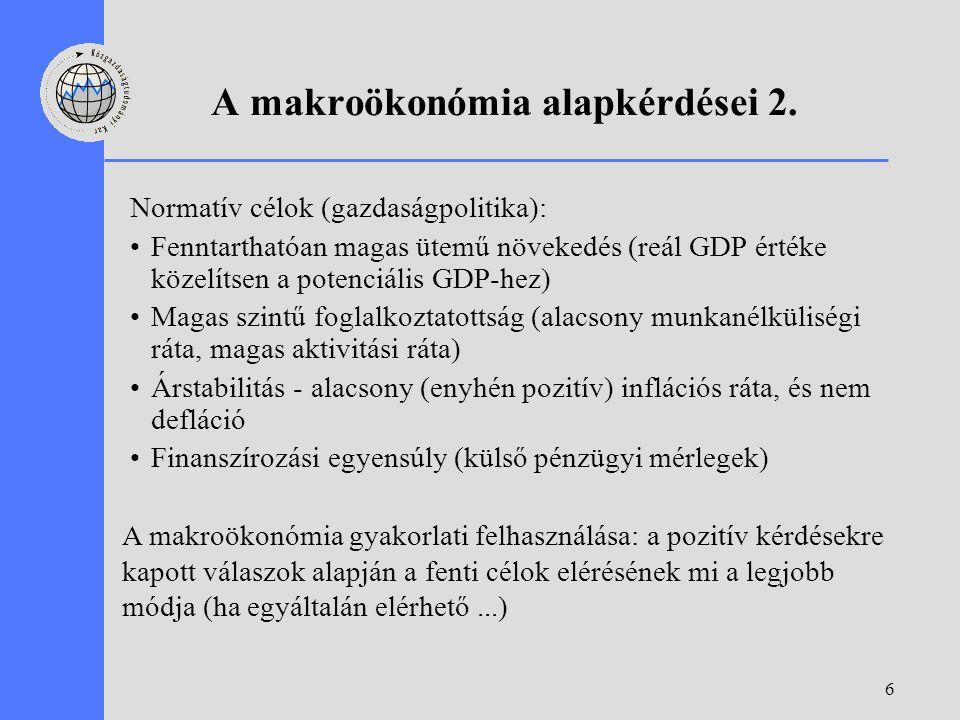 6 A makroökonómia alapkérdései 2. Normatív célok (gazdaságpolitika): Fenntarthatóan magas ütemű növekedés (reál GDP értéke közelítsen a potenciális GD