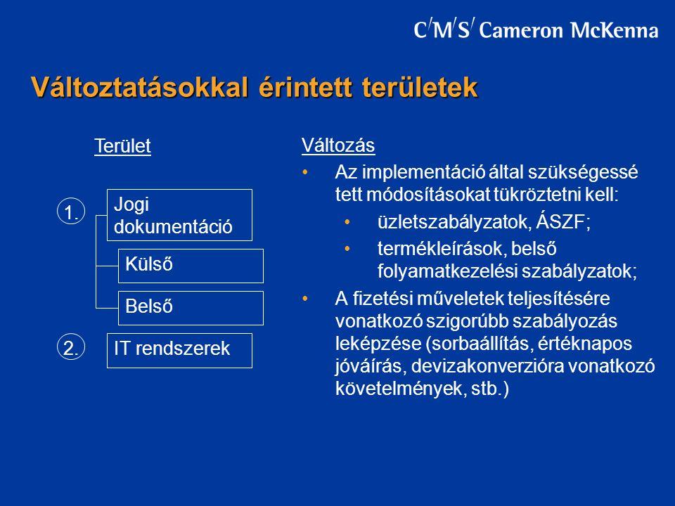Változás Az implementáció által szükségessé tett módosításokat tükröztetni kell: üzletszabályzatok, ÁSZF; termékleírások, belső folyamatkezelési szabályzatok; A fizetési műveletek teljesítésére vonatkozó szigorúbb szabályozás leképzése (sorbaállítás, értéknapos jóváírás, devizakonverzióra vonatkozó követelmények, stb.) Változtatásokkal érintett területek Jogi dokumentáció IT rendszerek Külső Belső 1.